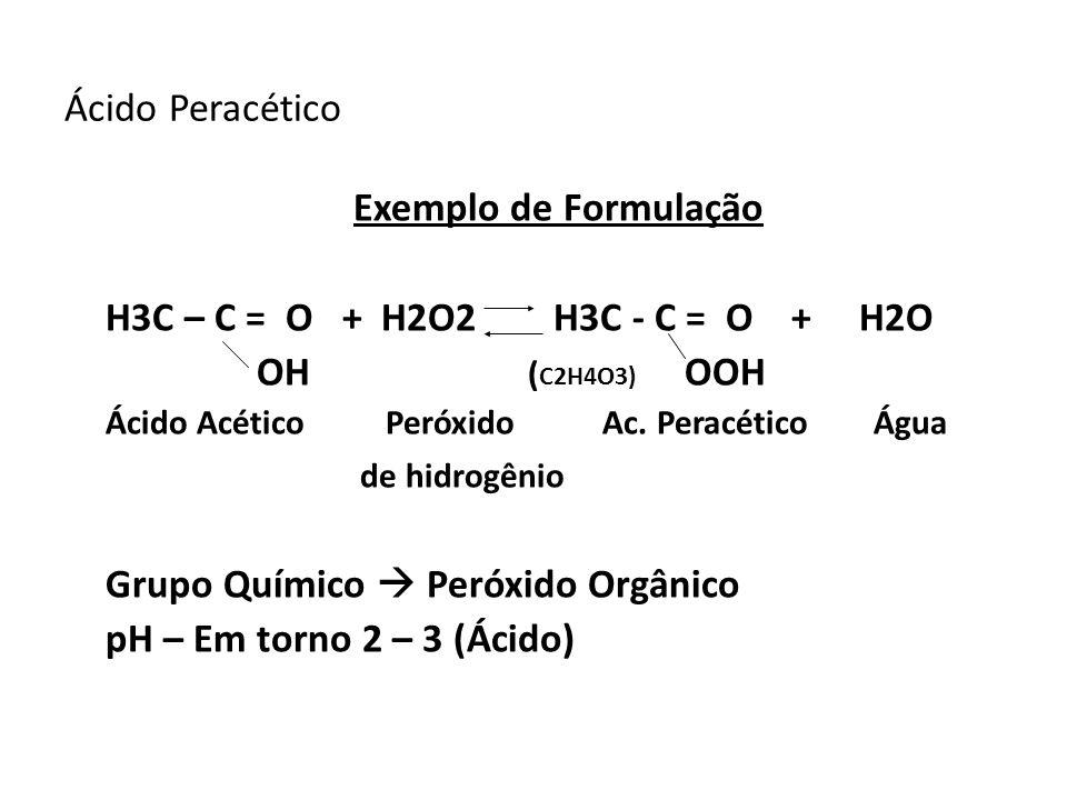 Grupo Químico  Peróxido Orgânico pH – Em torno 2 – 3 (Ácido)