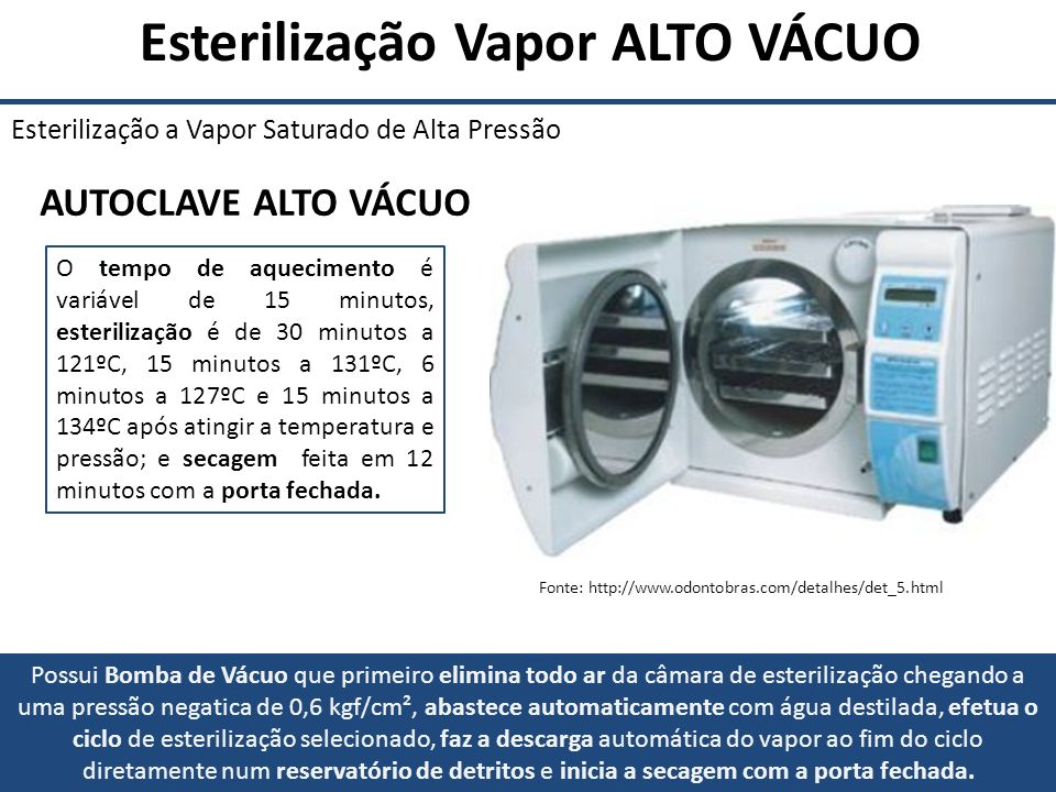 Esterilização Vapor ALTO VÁCUO