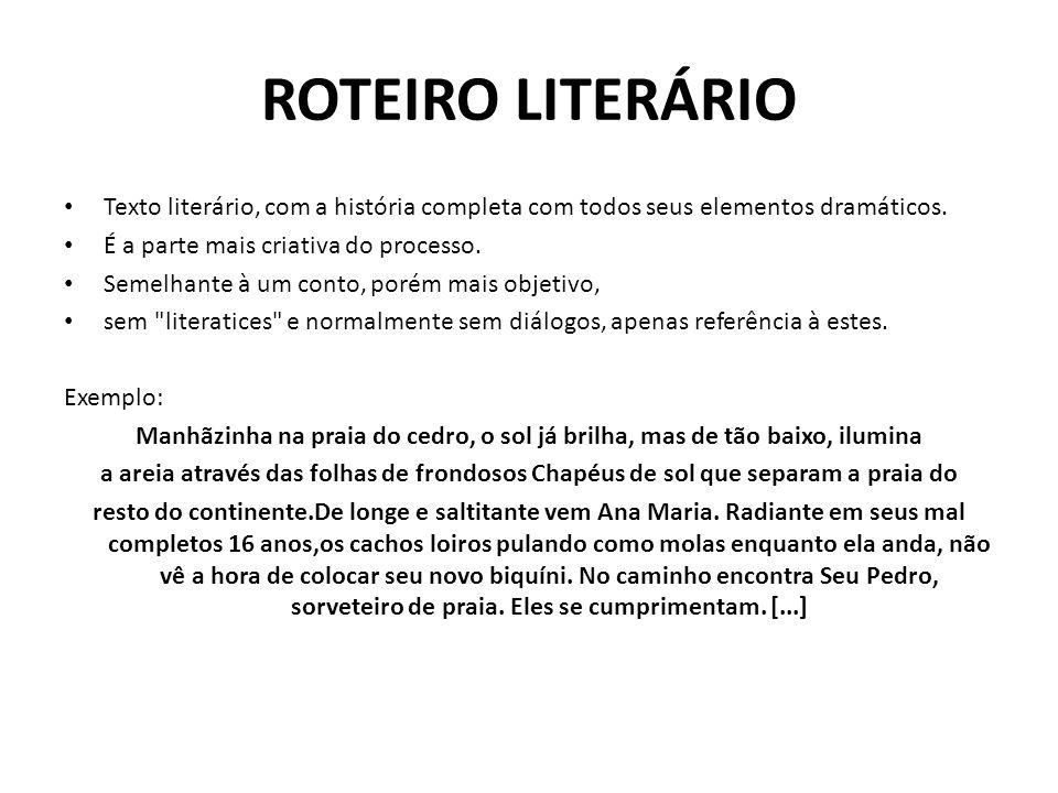 ROTEIRO LITERÁRIOTexto literário, com a história completa com todos seus elementos dramáticos. É a parte mais criativa do processo.