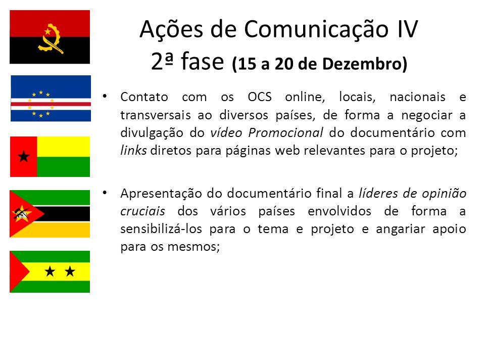 Ações de Comunicação IV 2ª fase (15 a 20 de Dezembro)