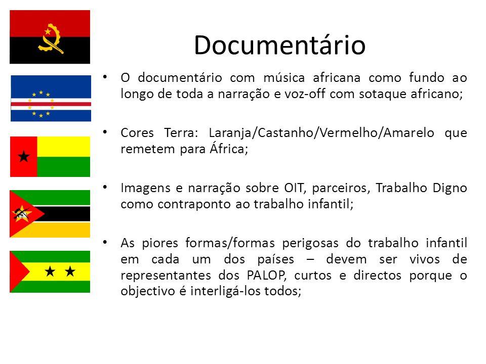 Documentário O documentário com música africana como fundo ao longo de toda a narração e voz-off com sotaque africano;