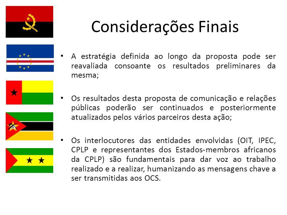 Considerações Finais A estratégia definida ao longo da proposta pode ser reavaliada consoante os resultados preliminares da mesma;