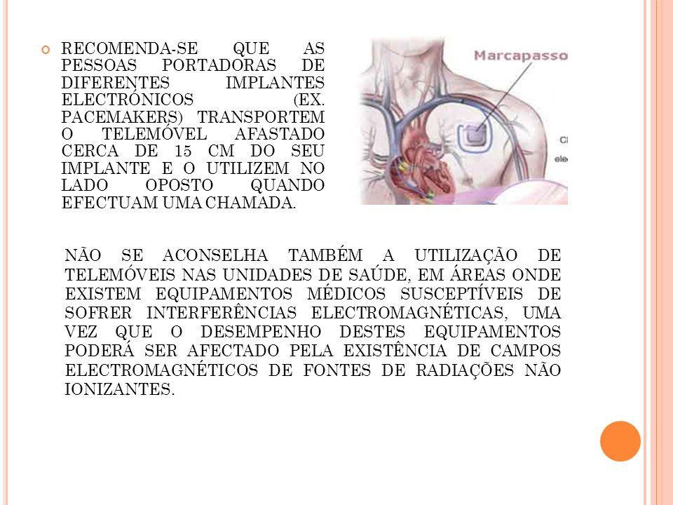 Recomenda-se que as pessoas portadoras de diferentes implantes electrónicos (ex. pacemakers) transportem o telemóvel afastado cerca de 15 cm do seu implante e o utilizem no lado oposto quando efectuam uma chamada.
