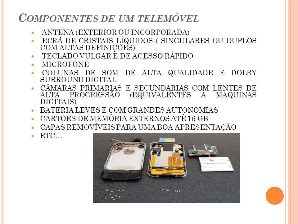 Componentes de um telemóvel