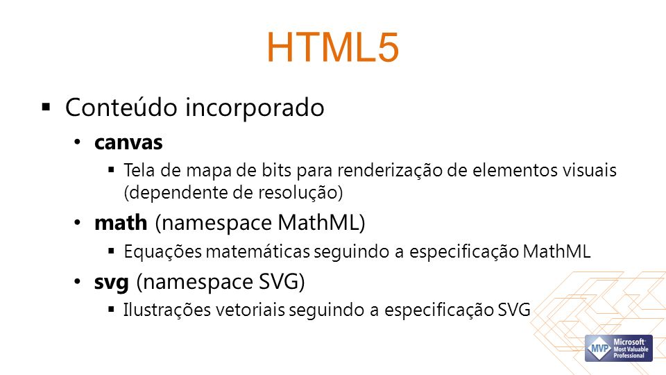 HTML5 Conteúdo incorporado canvas math (namespace MathML)