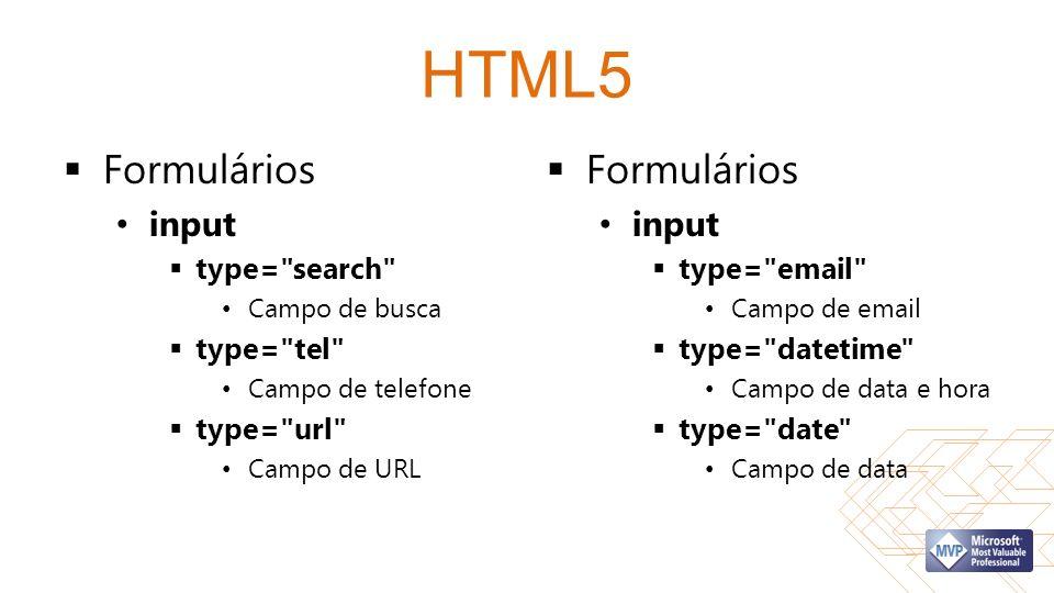 HTML5 Formulários Formulários input input type= search type= tel