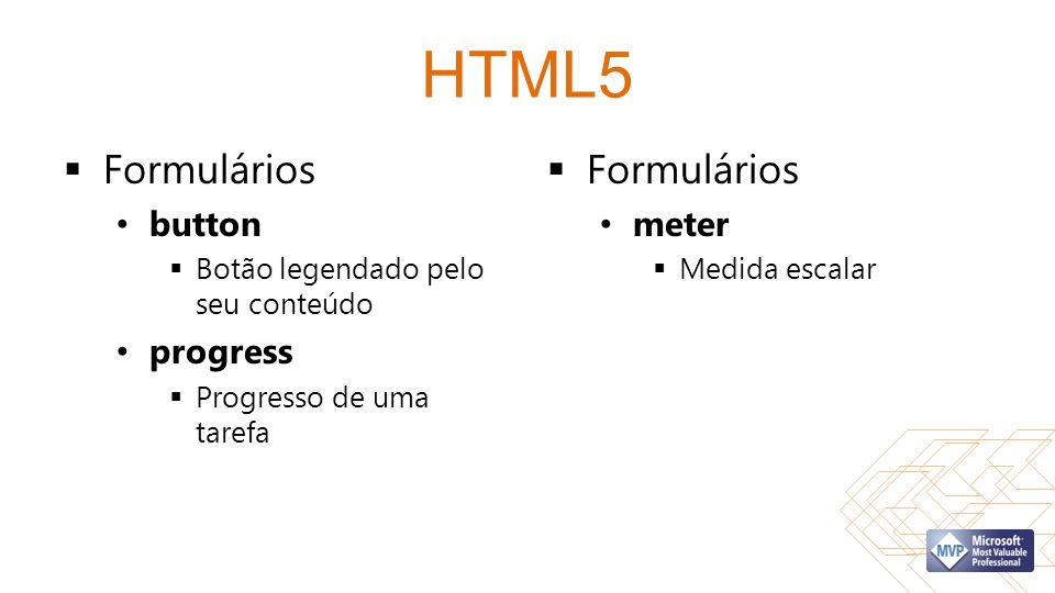 HTML5 Formulários Formulários button progress meter
