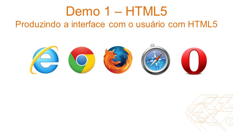 Demo 1 – HTML5 Produzindo a interface com o usuário com HTML5