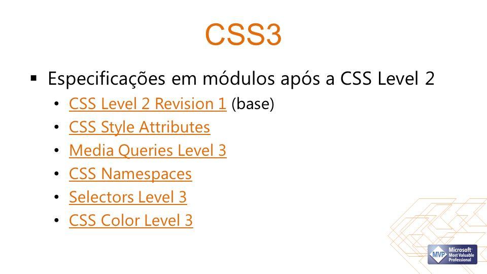 CSS3 Especificações em módulos após a CSS Level 2