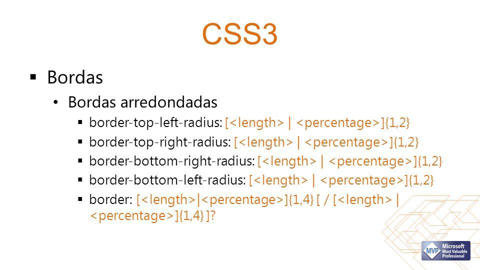 CSS3 Bordas Bordas arredondadas