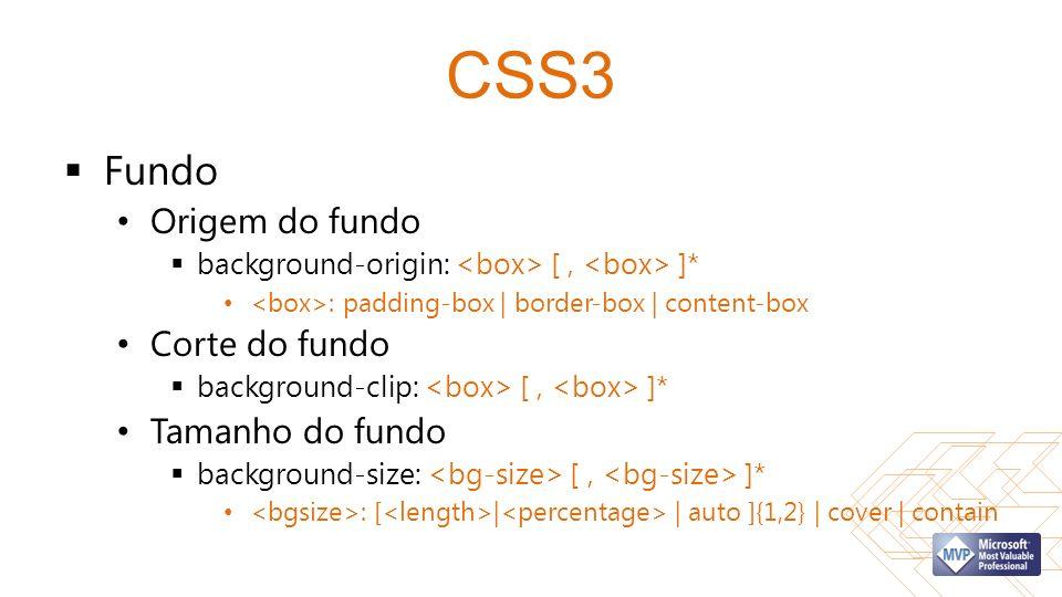CSS3 Fundo Origem do fundo Corte do fundo Tamanho do fundo