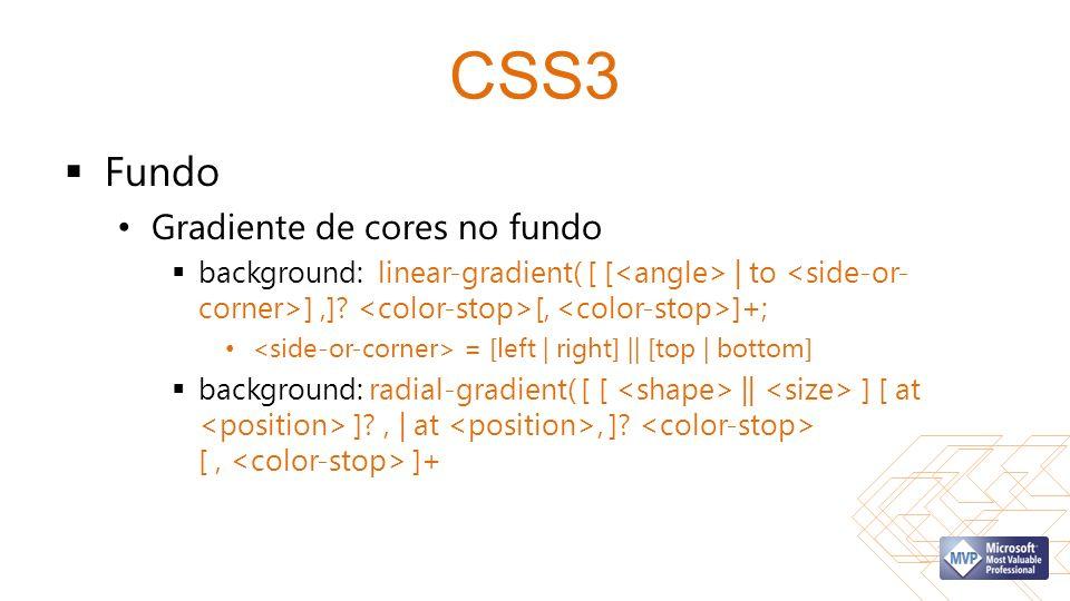 CSS3 Fundo Gradiente de cores no fundo