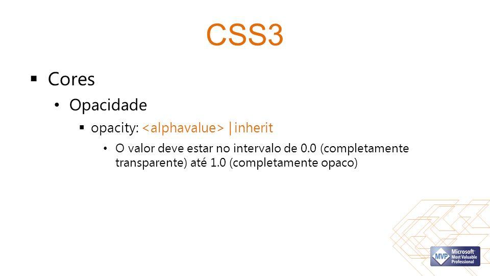 CSS3 Cores Opacidade opacity: <alphavalue> | inherit
