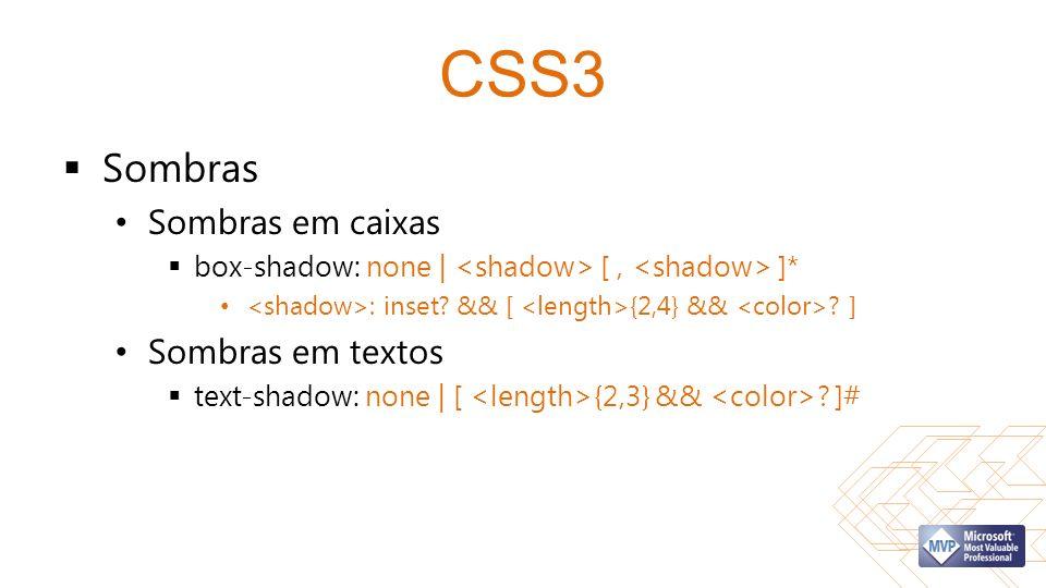CSS3 Sombras Sombras em caixas Sombras em textos