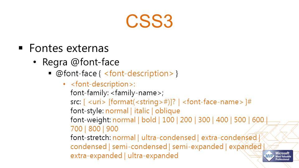 CSS3 Fontes externas Regra @font-face