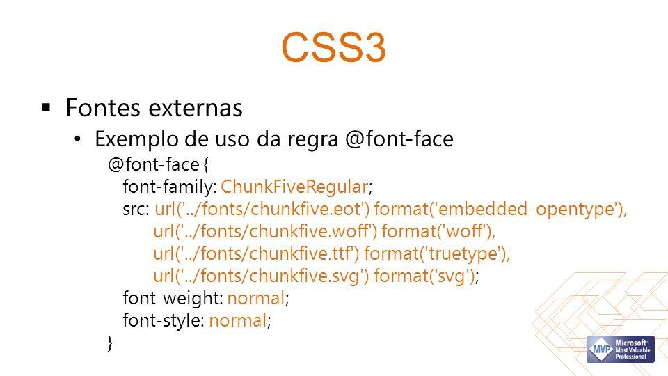 CSS3 Fontes externas Exemplo de uso da regra @font-face