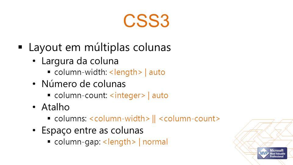 CSS3 Layout em múltiplas colunas Largura da coluna Número de colunas