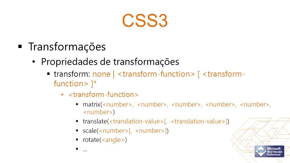 CSS3 Transformações Propriedades de transformações