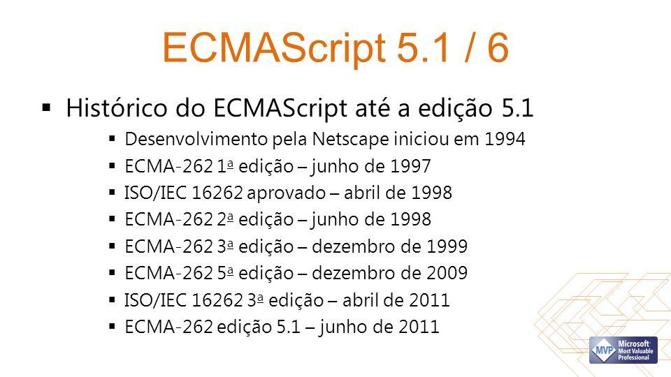 ECMAScript 5.1 / 6 Histórico do ECMAScript até a edição 5.1