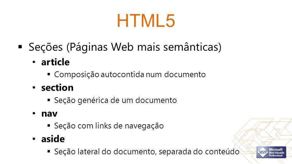 HTML5 Seções (Páginas Web mais semânticas) article section nav aside