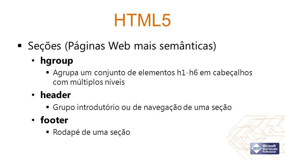 HTML5 Seções (Páginas Web mais semânticas) hgroup header footer