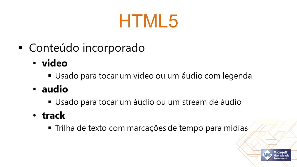 HTML5 Conteúdo incorporado video audio track