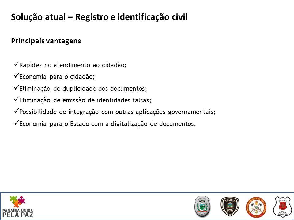 Solução atual – Registro e identificação civil