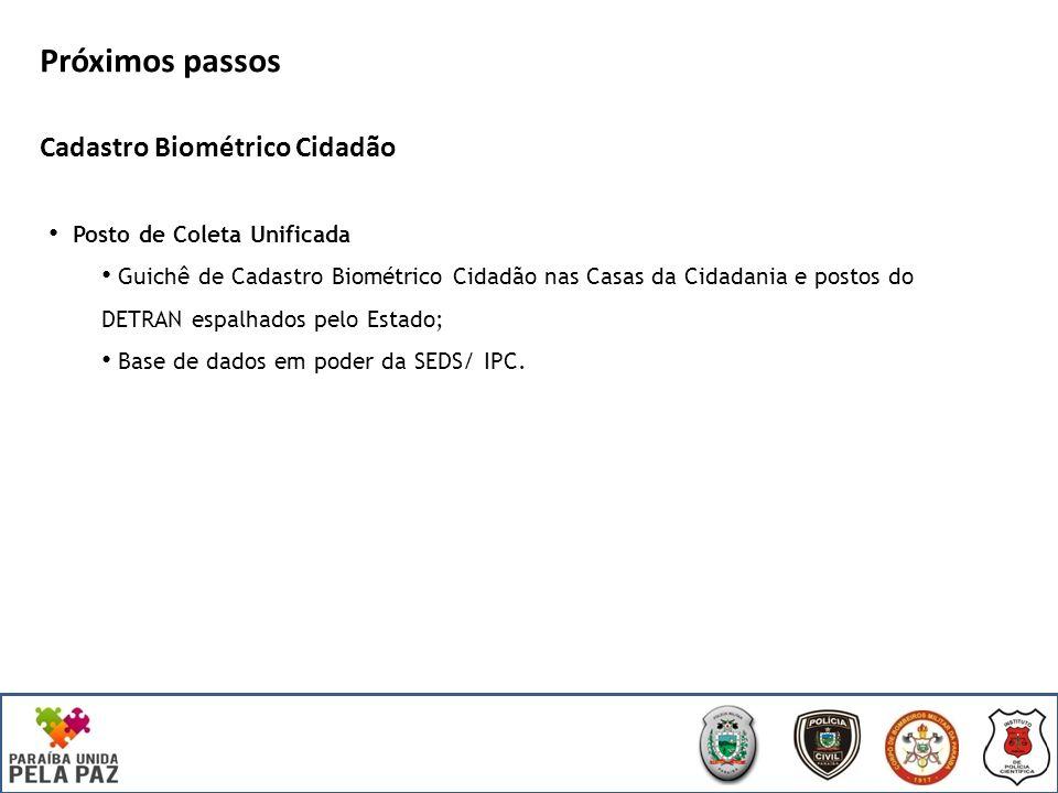 Próximos passos Cadastro Biométrico Cidadão Posto de Coleta Unificada