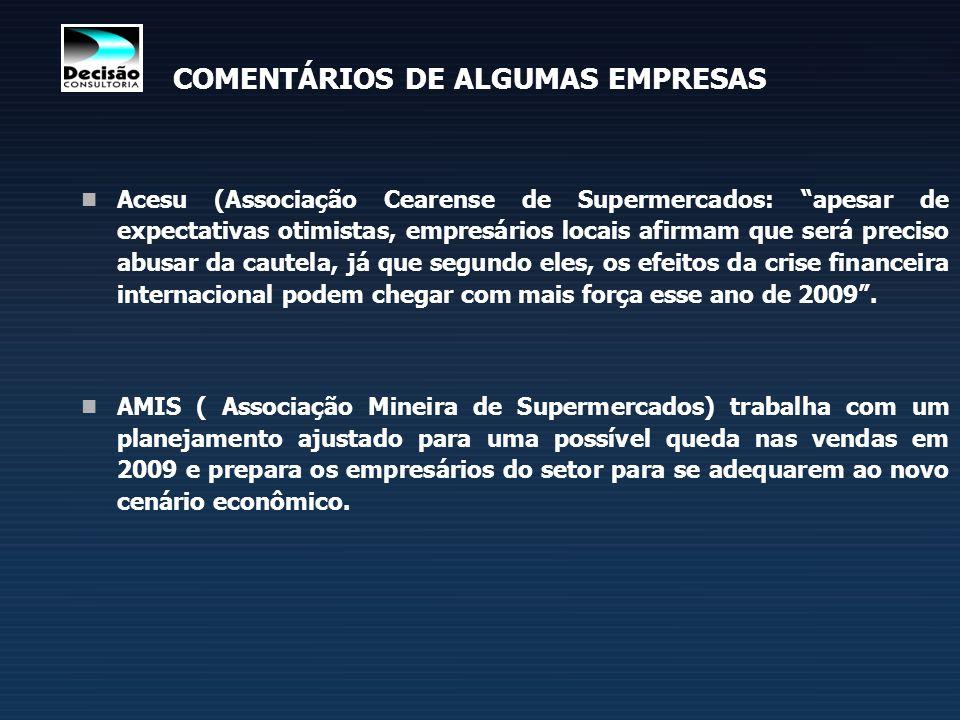 COMENTÁRIOS DE ALGUMAS EMPRESAS