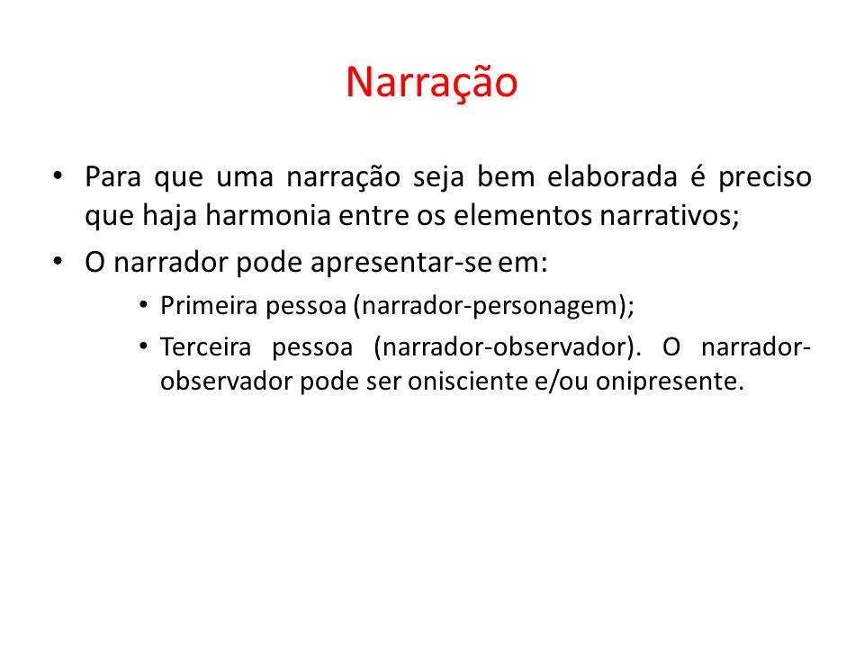 Narração Para que uma narração seja bem elaborada é preciso que haja harmonia entre os elementos narrativos;