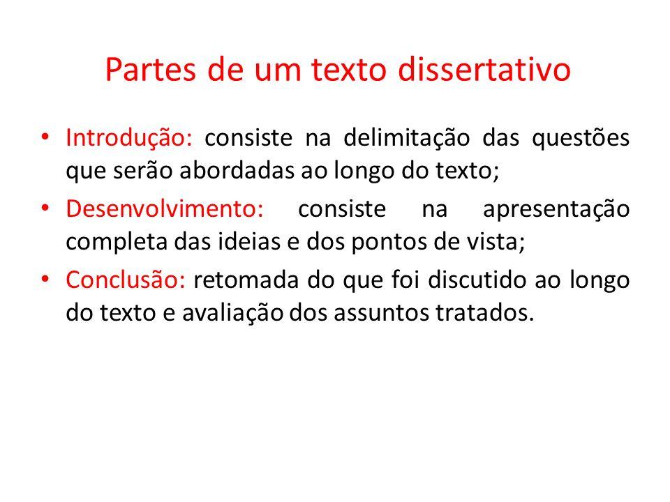 Partes de um texto dissertativo
