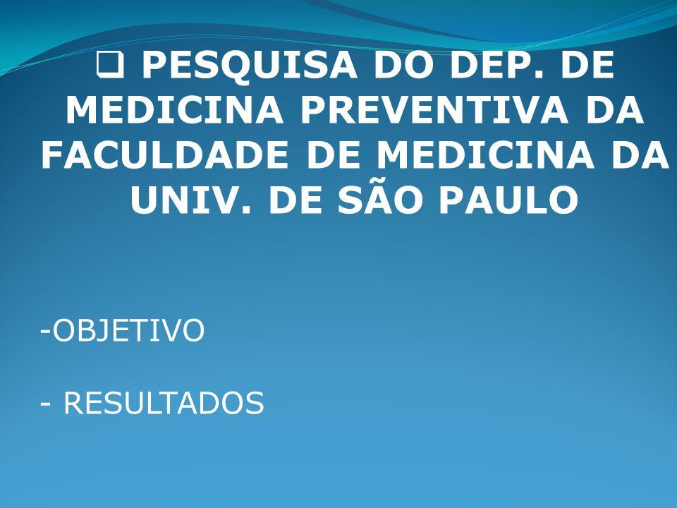 PESQUISA DO DEP. DE MEDICINA PREVENTIVA DA FACULDADE DE MEDICINA DA UNIV. DE SÃO PAULO