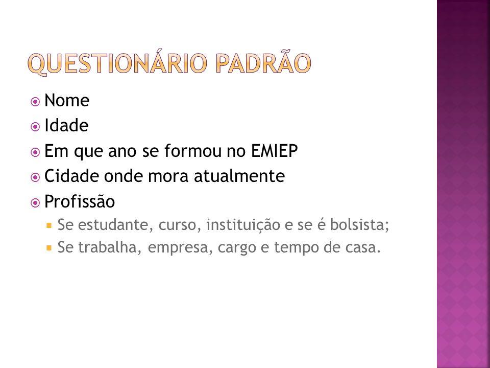Questionário Padrão Nome Idade Em que ano se formou no EMIEP