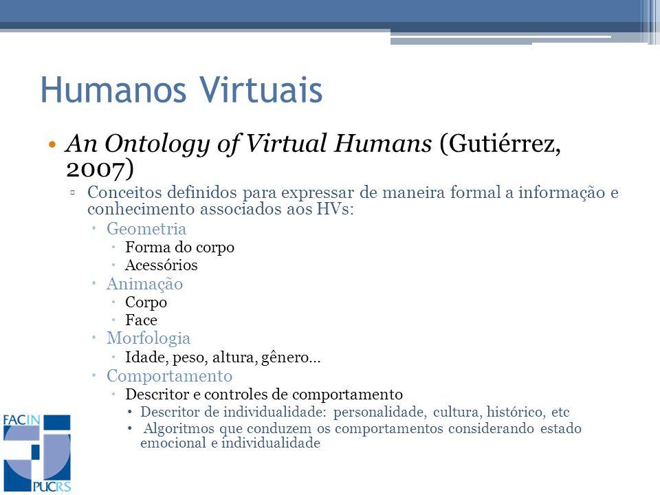 Humanos Virtuais An Ontology of Virtual Humans (Gutiérrez, 2007)