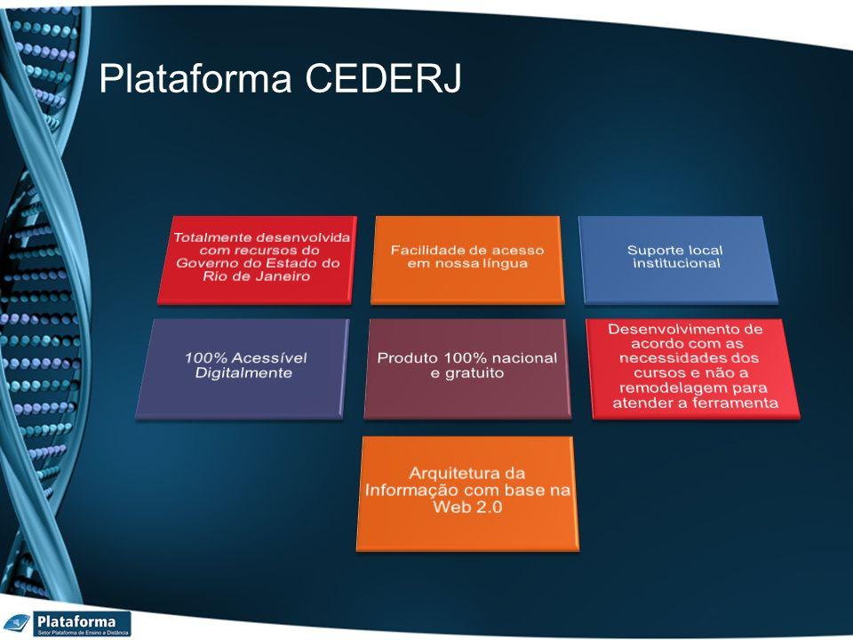Plataforma CEDERJ Totalmente desenvolvida com recursos do Governo do Estado do Rio de Janeiro. Facilidade de acesso em nossa língua.