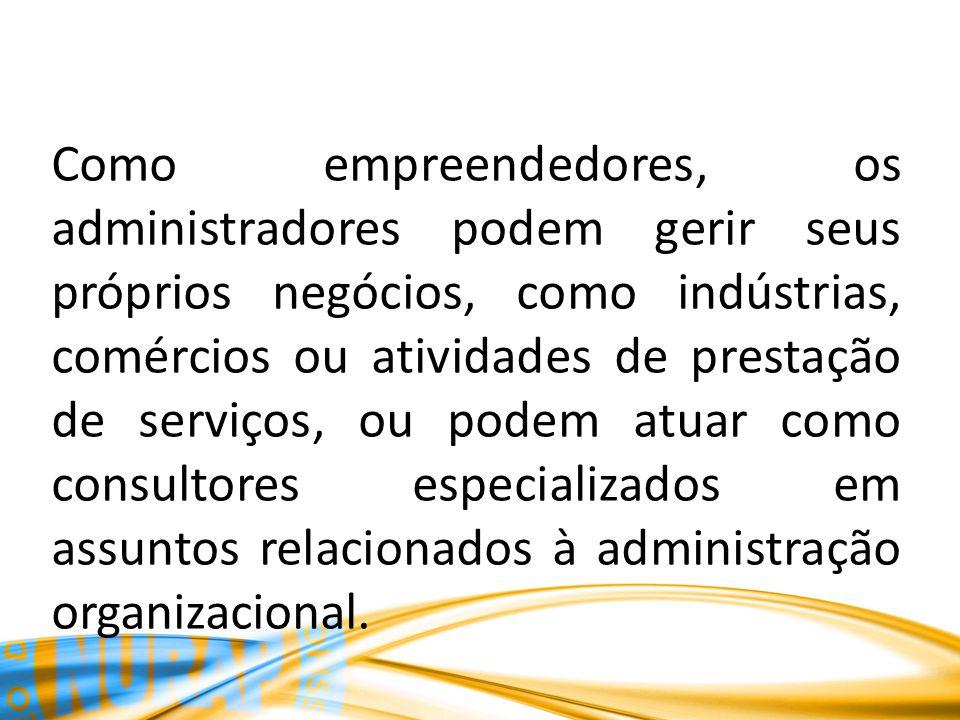 Como empreendedores, os administradores podem gerir seus próprios negócios, como indústrias, comércios ou atividades de prestação de serviços, ou podem atuar como consultores especializados em assuntos relacionados à administração organizacional.