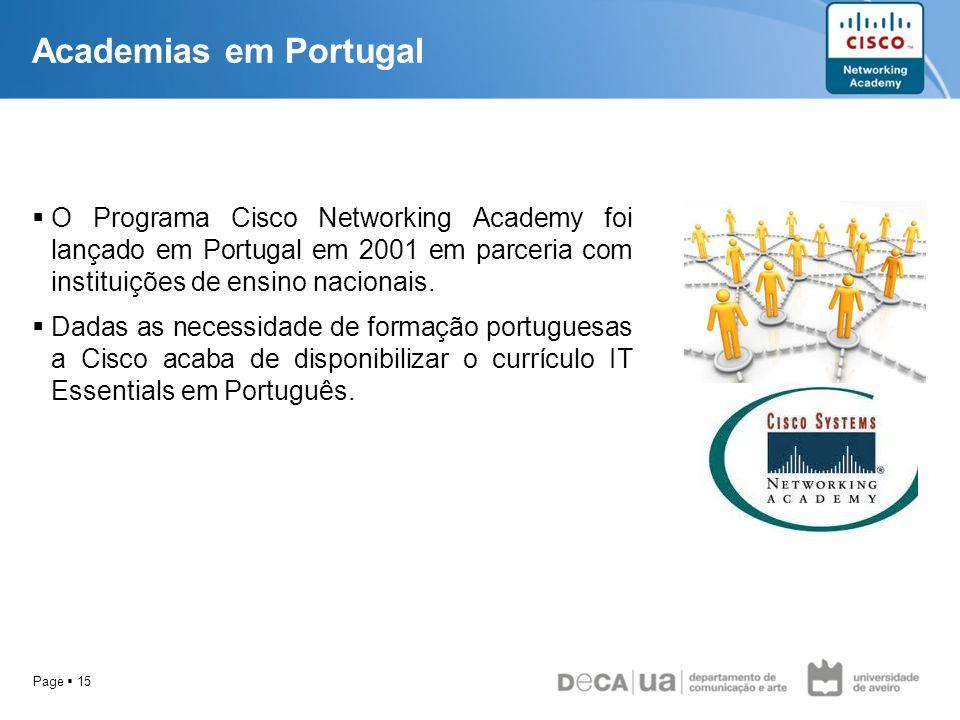 Academias em Portugal O Programa Cisco Networking Academy foi lançado em Portugal em 2001 em parceria com instituições de ensino nacionais.