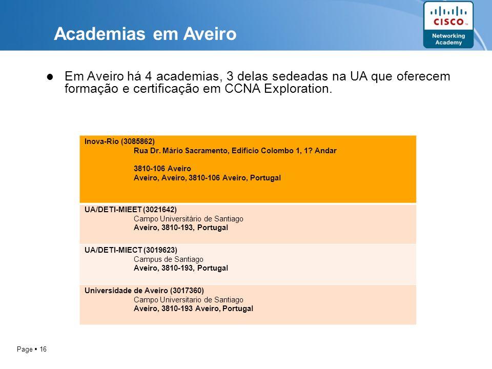 Academias em Aveiro Em Aveiro há 4 academias, 3 delas sedeadas na UA que oferecem formação e certificação em CCNA Exploration.