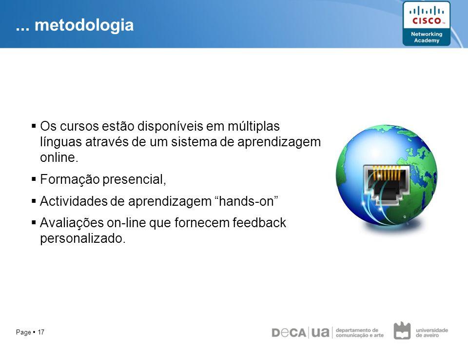 ... metodologia Os cursos estão disponíveis em múltiplas línguas através de um sistema de aprendizagem online.