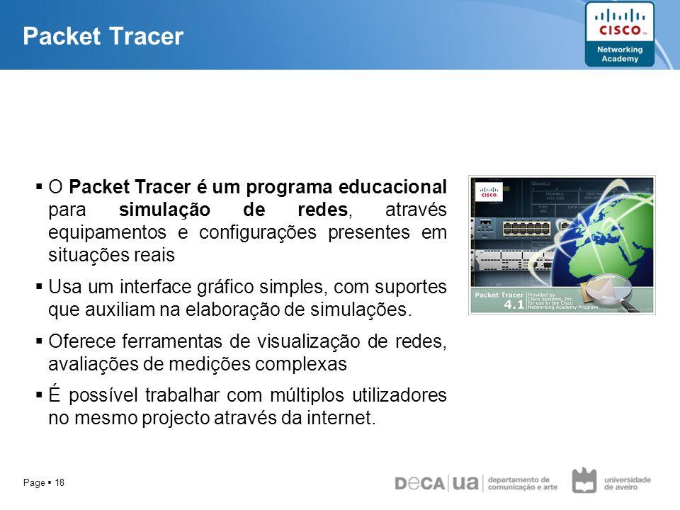 Packet Tracer O Packet Tracer é um programa educacional para simulação de redes, através equipamentos e configurações presentes em situações reais.