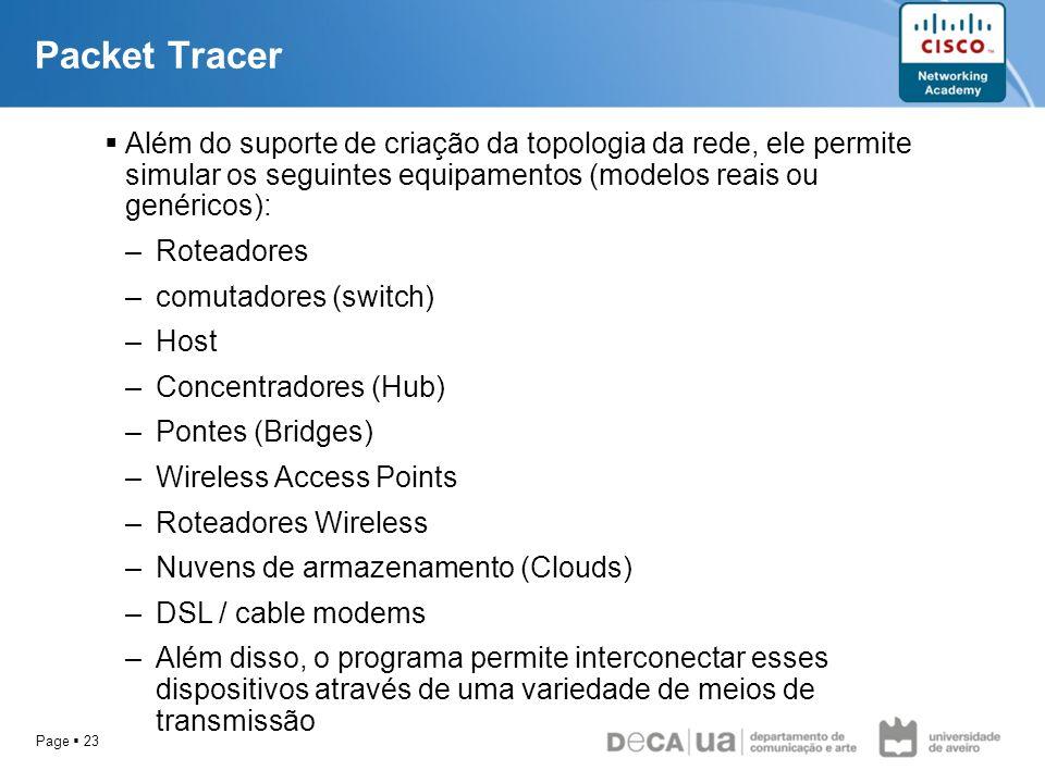 Packet Tracer Além do suporte de criação da topologia da rede, ele permite simular os seguintes equipamentos (modelos reais ou genéricos):