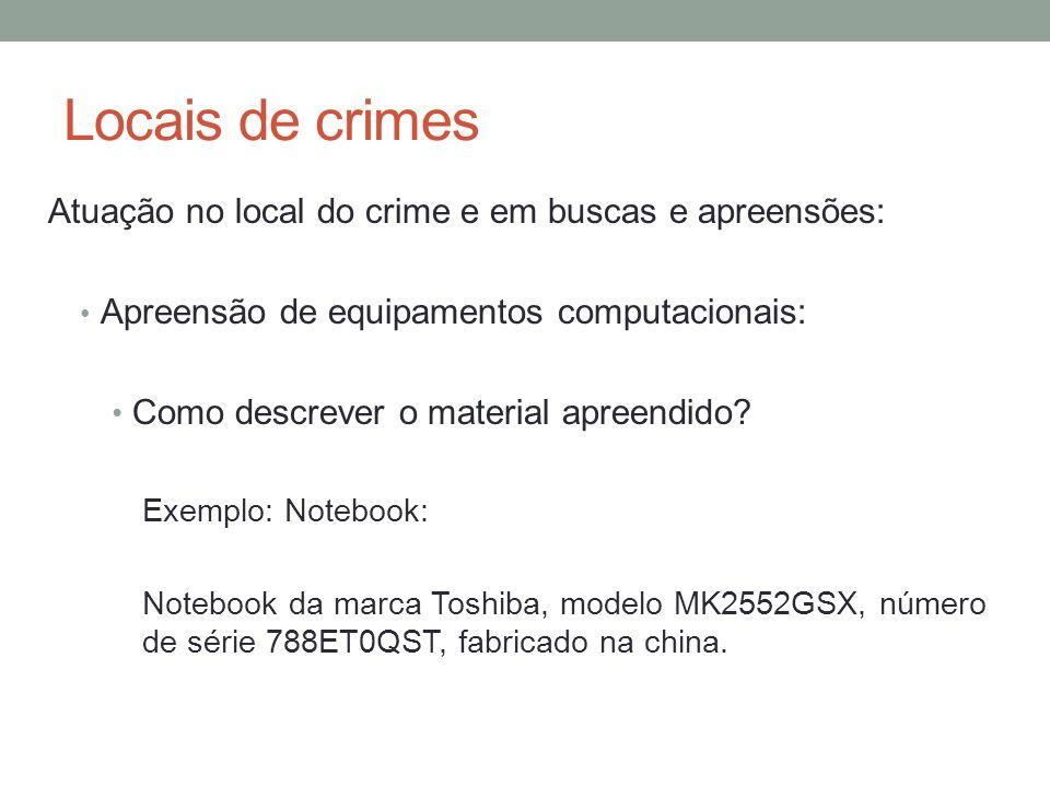Locais de crimes Atuação no local do crime e em buscas e apreensões: