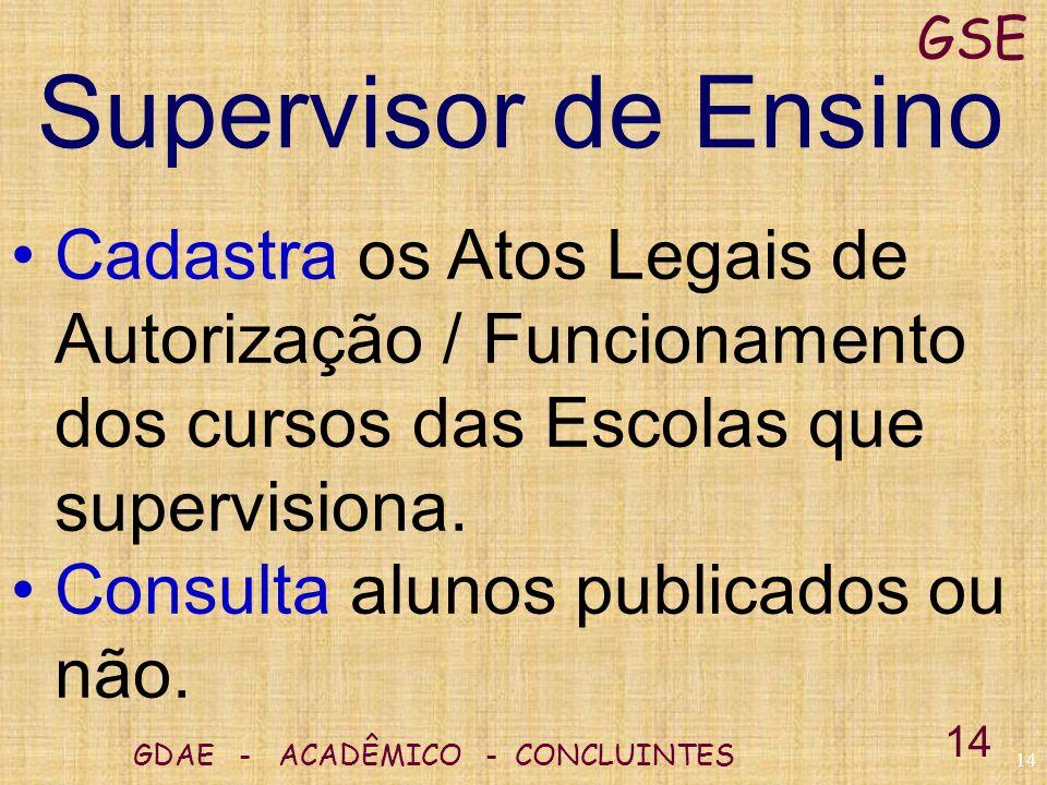 GSE Supervisor de Ensino. Cadastra os Atos Legais de Autorização / Funcionamento dos cursos das Escolas que supervisiona.