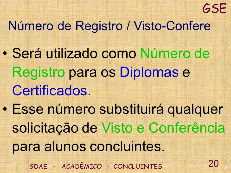 GSE Número de Registro / Visto-Confere. Será utilizado como Número de Registro para os Diplomas e Certificados.