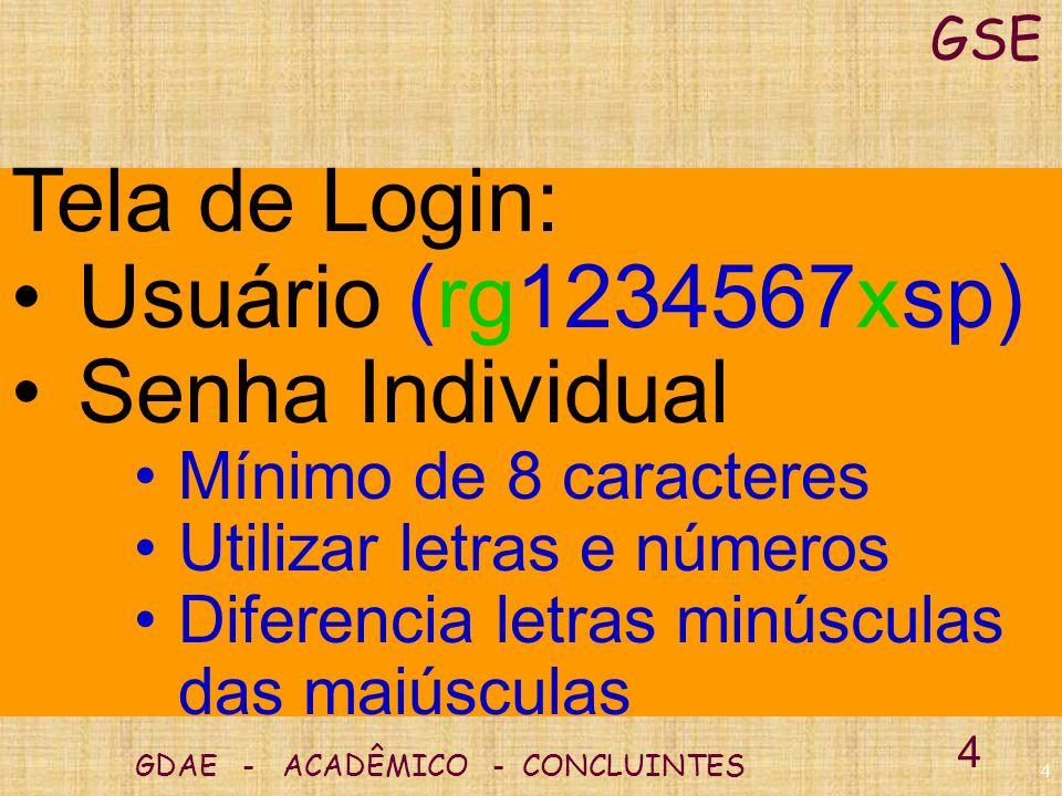 Tela de Login: Usuário (rg1234567xsp) Senha Individual