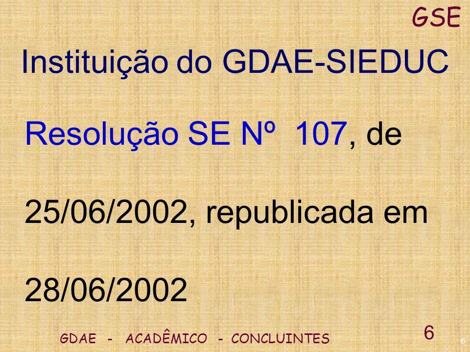 Instituição do GDAE-SIEDUC