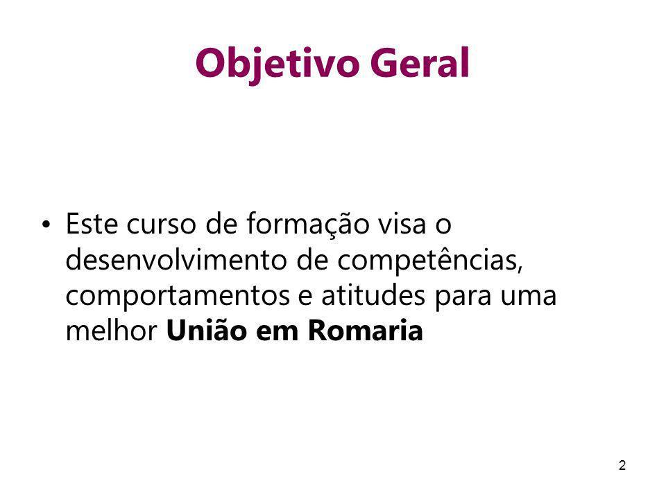 Objetivo Geral Este curso de formação visa o desenvolvimento de competências, comportamentos e atitudes para uma melhor União em Romaria.