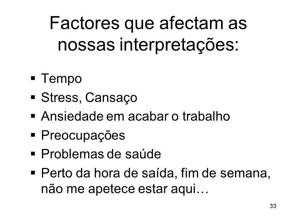 Factores que afectam as nossas interpretações: