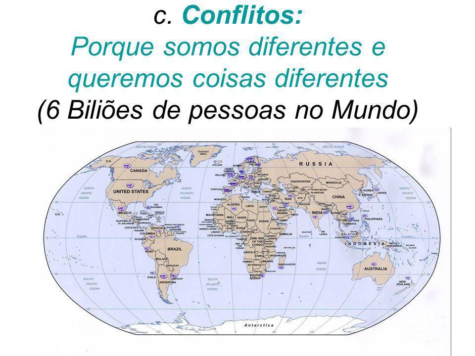 c. Conflitos: Porque somos diferentes e queremos coisas diferentes (6 Biliões de pessoas no Mundo)
