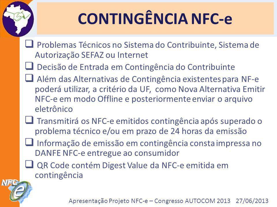 CONTINGÊNCIA NFC-eProblemas Técnicos no Sistema do Contribuinte, Sistema de Autorização SEFAZ ou Internet.